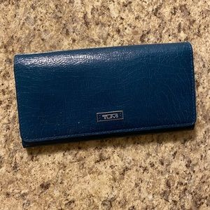 NWT Deep Teal Tumi Bifold Wallet ft. Orange Accent